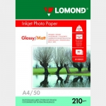 Фотобумага A4/210грамм/50листов/глянцевая/матовая 2-сторон.(0102021) LOMOND