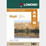 Фотобумага A4/140грамм/100листов/матовая 1-сторон.(0102074) LOMOND